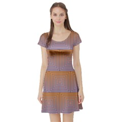 Brick Wall Squared Concentric Squares Short Sleeve Skater Dress