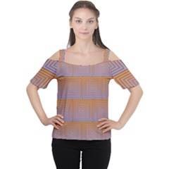 Brick Wall Squared Concentric Squares Women s Cutout Shoulder Tee