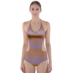 Brick Wall Squared Concentric Squares Cut Out One Piece Swimsuit