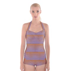 Brick Wall Squared Concentric Squares Boyleg Halter Swimsuit