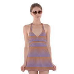 Brick Wall Squared Concentric Squares Halter Swimsuit Dress