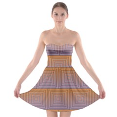 Brick Wall Squared Concentric Squares Strapless Bra Top Dress