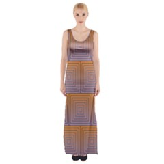 Brick Wall Squared Concentric Squares Maxi Thigh Split Dress