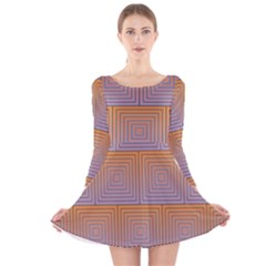 Brick Wall Squared Concentric Squares Long Sleeve Velvet Skater Dress