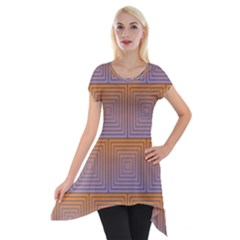 Brick Wall Squared Concentric Squares Short Sleeve Side Drop Tunic