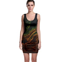 Abstract Glowing Edges Sleeveless Bodycon Dress