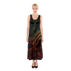 Abstract Glowing Edges Sleeveless Maxi Dress