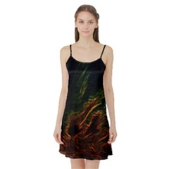 Abstract Glowing Edges Satin Night Slip