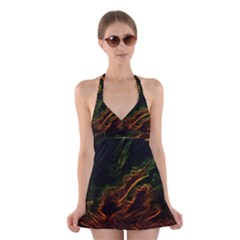 Abstract Glowing Edges Halter Swimsuit Dress
