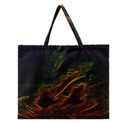 Abstract Glowing Edges Zipper Large Tote Bag