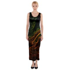Abstract Glowing Edges Fitted Maxi Dress