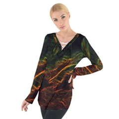 Abstract Glowing Edges Women s Tie Up Tee