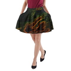 Abstract Glowing Edges A-Line Pocket Skirt