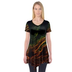 Abstract Glowing Edges Short Sleeve Tunic