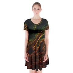 Abstract Glowing Edges Short Sleeve V Neck Flare Dress