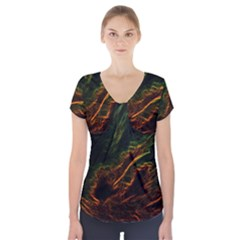 Abstract Glowing Edges Short Sleeve Front Detail Top