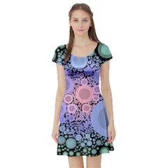An Abstract Background Consisting Of Pastel Colored Circle Short Sleeve Skater Dress