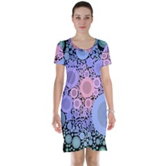 An Abstract Background Consisting Of Pastel Colored Circle Short Sleeve Nightdress