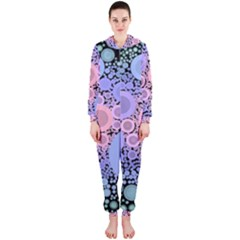 An Abstract Background Consisting Of Pastel Colored Circle Hooded Jumpsuit (ladies)