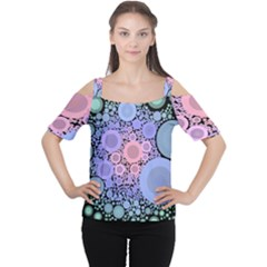 An Abstract Background Consisting Of Pastel Colored Circle Women s Cutout Shoulder Tee