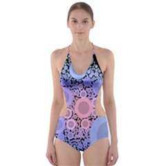 An Abstract Background Consisting Of Pastel Colored Circle Cut-Out One Piece Swimsuit