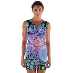 An Abstract Background Consisting Of Pastel Colored Circle Wrap Front Bodycon Dress