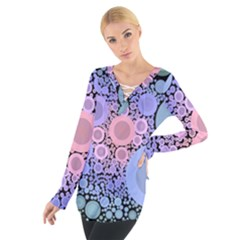 An Abstract Background Consisting Of Pastel Colored Circle Women s Tie Up Tee