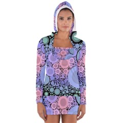 An Abstract Background Consisting Of Pastel Colored Circle Women s Long Sleeve Hooded T Shirt