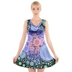 An Abstract Background Consisting Of Pastel Colored Circle V Neck Sleeveless Skater Dress