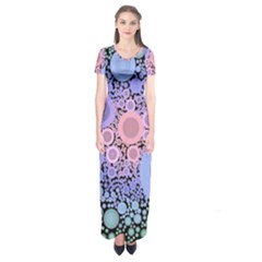 An Abstract Background Consisting Of Pastel Colored Circle Short Sleeve Maxi Dress