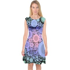 An Abstract Background Consisting Of Pastel Colored Circle Capsleeve Midi Dress