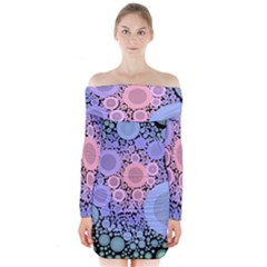 An Abstract Background Consisting Of Pastel Colored Circle Long Sleeve Off Shoulder Dress