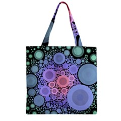 An Abstract Background Consisting Of Pastel Colored Circle Zipper Grocery Tote Bag