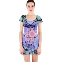 An Abstract Background Consisting Of Pastel Colored Circle Short Sleeve Bodycon Dress