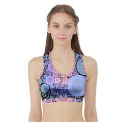 An Abstract Background Consisting Of Pastel Colored Circle Sports Bra With Border