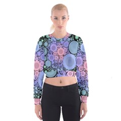 An Abstract Background Consisting Of Pastel Colored Circle Women s Cropped Sweatshirt