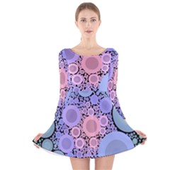 An Abstract Background Consisting Of Pastel Colored Circle Long Sleeve Velvet Skater Dress