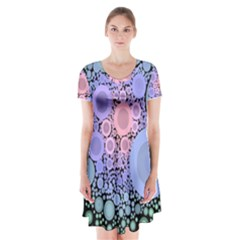 An Abstract Background Consisting Of Pastel Colored Circle Short Sleeve V Neck Flare Dress