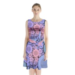 An Abstract Background Consisting Of Pastel Colored Circle Sleeveless Chiffon Waist Tie Dress