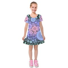 An Abstract Background Consisting Of Pastel Colored Circle Kids  Short Sleeve Velvet Dress