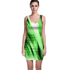 Abstract Background Green Sleeveless Bodycon Dress