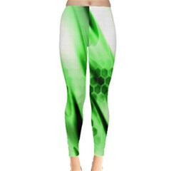 Abstract Background Green Leggings