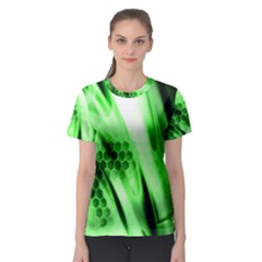 Abstract Background Green Women s Sport Mesh Tee