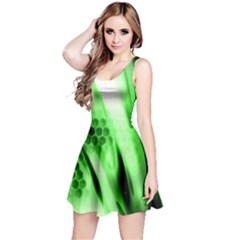 Abstract Background Green Reversible Sleeveless Dress