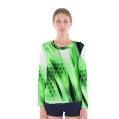Abstract Background Green Women s Long Sleeve Tee