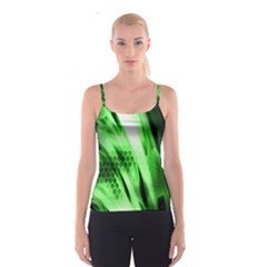 Abstract Background Green Spaghetti Strap Top