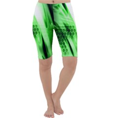 Abstract Background Green Cropped Leggings