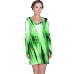 Abstract Background Green Long Sleeve Nightdress