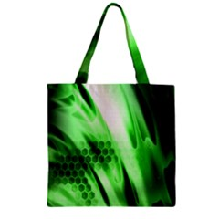 Abstract Background Green Zipper Grocery Tote Bag