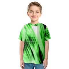 Abstract Background Green Kids  Sport Mesh Tee